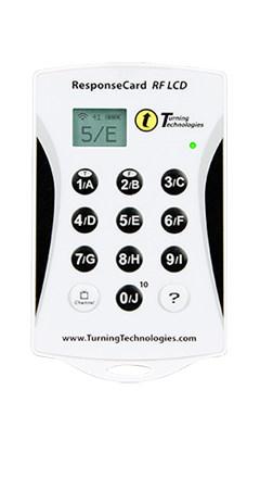 Na zdjęciu widoczny pilot ResponseCard RF LCD przeznaczony do głosowania