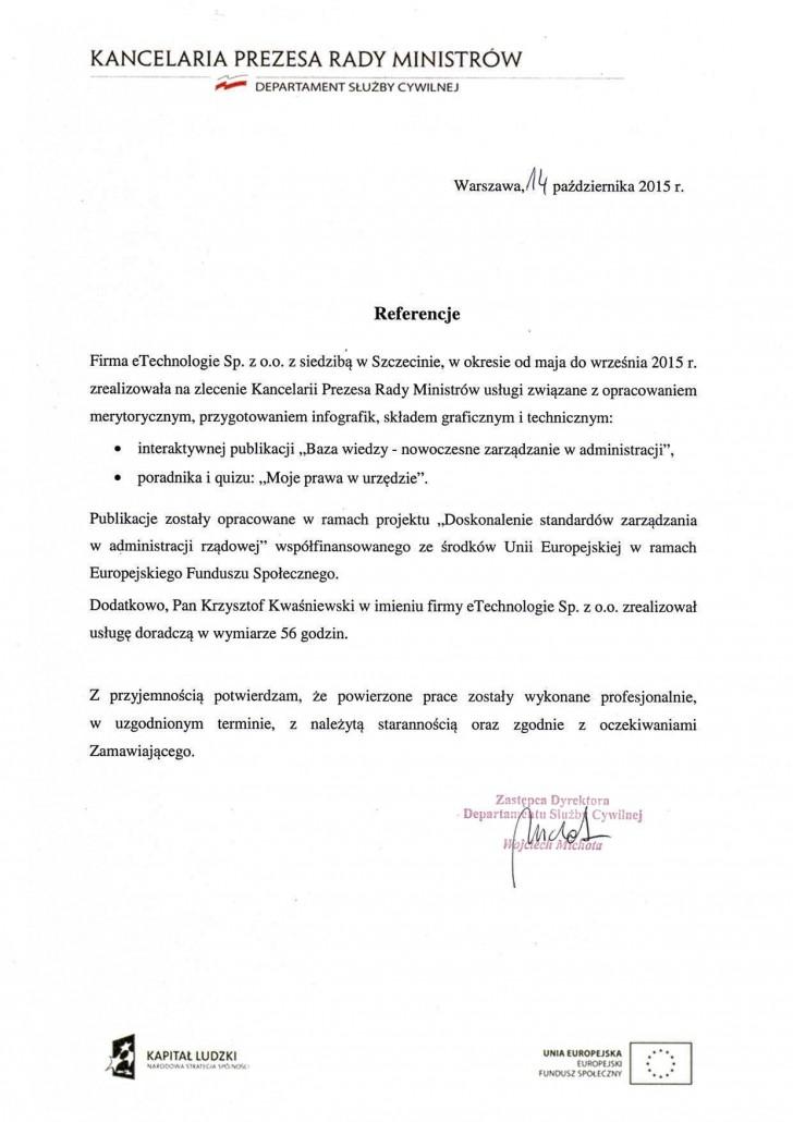 kancelaria prezesa rady ministrów list referencyjny
