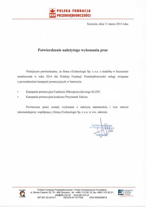 Polska Fundacja Przedsiębiorczości list referencyjny