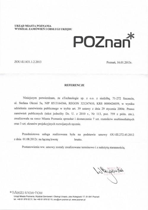Urząd Miejski w Poznaniu list referencyjny