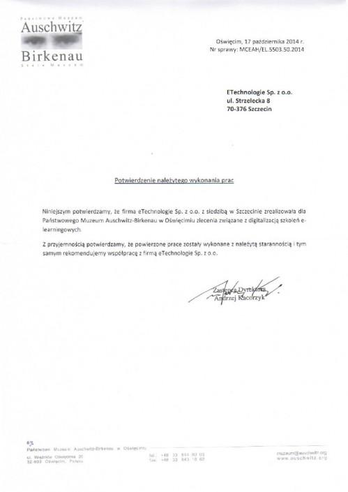 Muzeum w Auschwiz list referencyjny