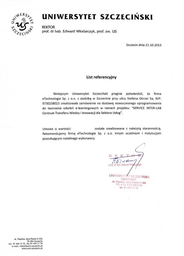 Uniwersytet Szczeciński list referencyjny