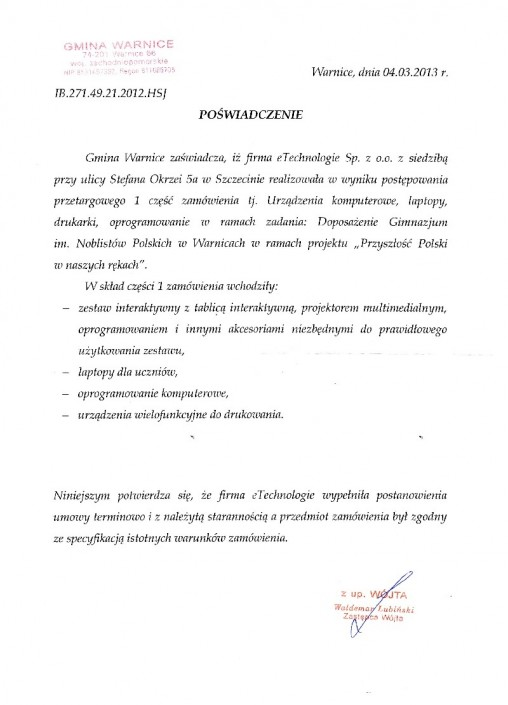 UM Warnice list referencyjny