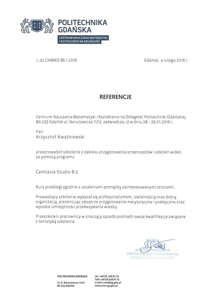 Referencje politechnika Gdańska