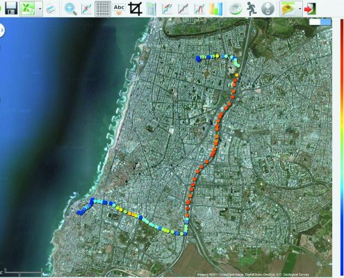 Pomiary naniesione na Google Maps