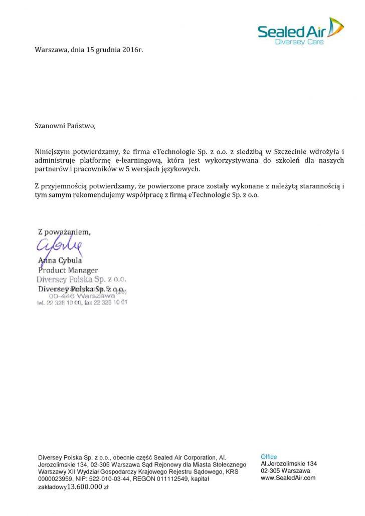 List referencyjny wystawiony przez Sealed Air Corporation