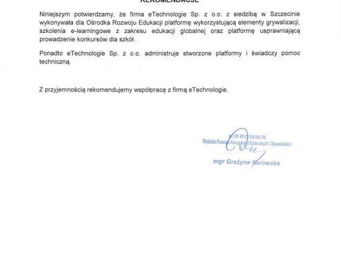 List referencyjny ORE