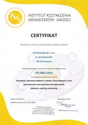 certyfikat-ISO-283x400 Posiadamy certyfikat ISO 9001 w zakresie wdrożeń e-learningu