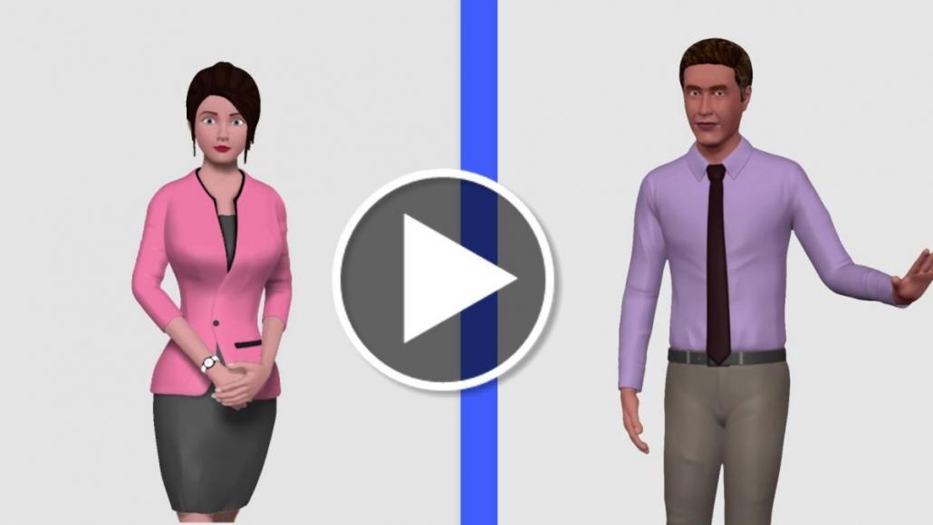 Przycisk otwiera film z wykorzysaniem avatarów 3D