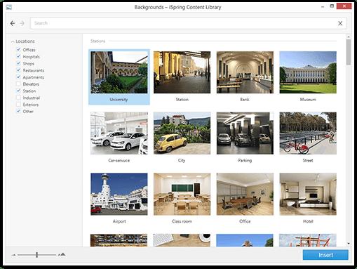 scenografie iSpring Content Library. Biblioteka gotowych zasobów do tworzenia szkoleń e-learningowych