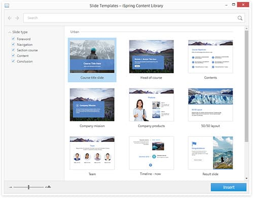 szablony iSpring Content Library. Biblioteka gotowych zasobów do tworzenia szkoleń e-learningowych