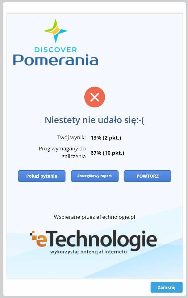 """quiz-wynik-negatywny Interaktywny quiz promujący atrakcje Pomorza Zachodniego """"Discover Pomerania"""""""