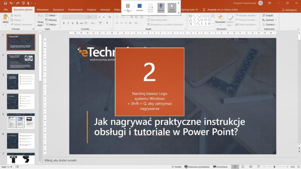 nagrywanie-zawartosci-ekranu-power-point-2-1030x579 Jak nagrywać praktyczne instrukcje obsługi, poradniki i tutoriale wideo w Power Point?