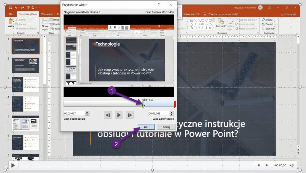 nagrywanie-zawartosci-ekranu-power-point-5-1030x584 Jak nagrywać praktyczne instrukcje obsługi, poradniki i tutoriale wideo w Power Point?